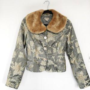 Anthropologie Silk Brocade Jacket